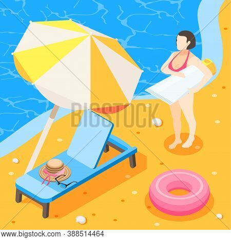 Sunscreen Isometric Background Composition With View Of Sea Coast With Beach Couch Umbrella And Sunb