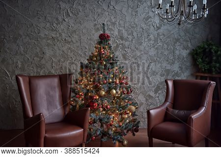 Christmas Tree Decorated In The Interior Of The Room