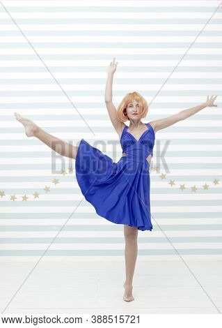 Sensual Woman Dancing Contemporary Dance. Dancer Womancrazy About Dancing. Sporty Performer Pose As
