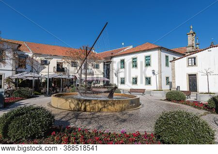 Esposende, Portugal - February 21, 2020: Street Atmosphere And Architecture In Front Of Bars And Res