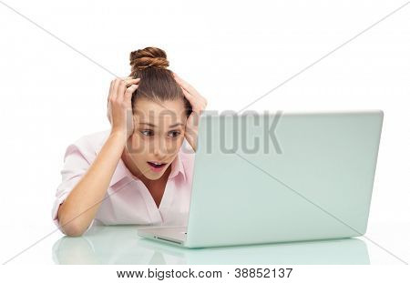 Woman in shock while using laptop
