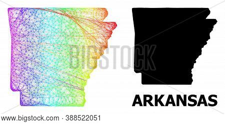 Net And Solid Map Of Arkansas State. Vector Model Is Created From Map Of Arkansas State With Interse