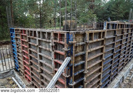 Wall Formwork Ready For Concreting. Pool Formwork.construction Formwork For Concrete.spring Clips Ar
