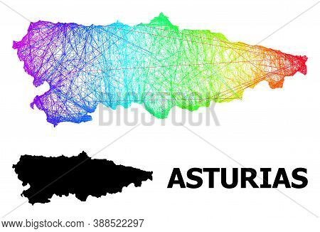 Wire Frame And Solid Map Of Asturias Province. Vector Model Is Created From Map Of Asturias Province