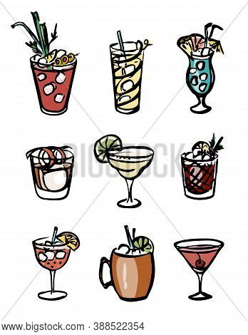 Collection Set Of Icon Hand-drawn Ink Retro Color Style Vector Illustration. Various Alcohol Cocktai