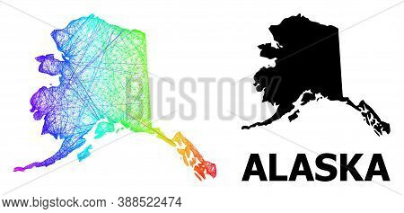 Wire Frame And Solid Map Of Alaska State. Vector Structure Is Created From Map Of Alaska State With