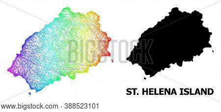 Wire Frame And Solid Map Of Saint Helena Island. Vector Model Is Created From Map Of Saint Helena Is