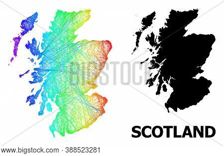 Network And Solid Map Of Scotland. Vector Structure Is Created From Map Of Scotland With Intersected