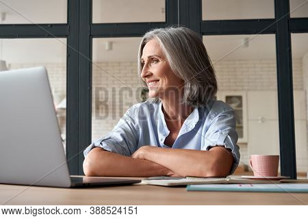 Smiling Stylish Mature Middle Aged Woman Sitting At Home Office Workplace Looking Away. Happy Older