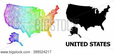 Network And Solid Map Of Usa And Alaska. Vector Structure Is Created From Map Of Usa And Alaska With