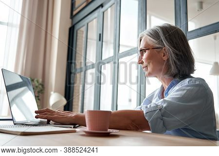 Smiling Professional Mature Middle Aged Business Woman Using Laptop Computer Sitting At Workplace De