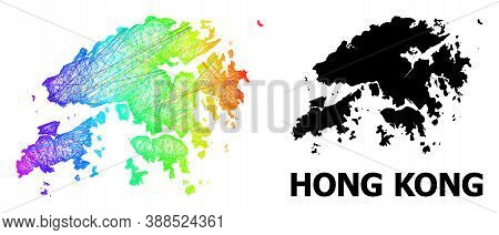Wire Frame And Solid Map Of Hong Kong. Vector Structure Is Created From Map Of Hong Kong With Inters