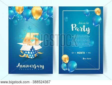 Celebration Of 45th Years Birthday Vector Invitation Card. Forty Five Years Anniversary Celebration