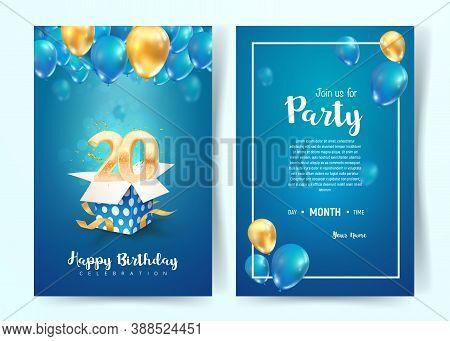 Celebration Of 20th Years Birthday Vector Invitation Card. Twenty Years Anniversary Celebration Broc