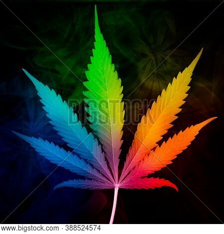 Multicolored Cannabis Leaf With Dark Cannabis Background Texture