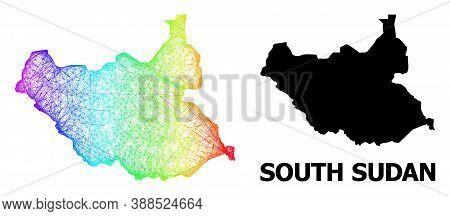 Network And Solid Map Of South Sudan. Vector Structure Is Created From Map Of South Sudan With Inter