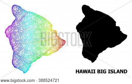 Net And Solid Map Of Hawaii Big Island. Vector Structure Is Created From Map Of Hawaii Big Island Wi