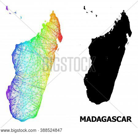 Wire Frame And Solid Map Of Madagascar Island. Vector Structure Is Created From Map Of Madagascar Is