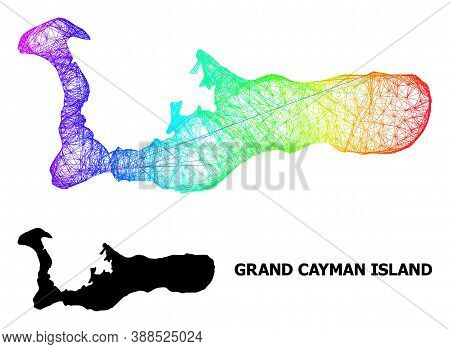 Wire Frame And Solid Map Of Grand Cayman Island. Vector Model Is Created From Map Of Grand Cayman Is