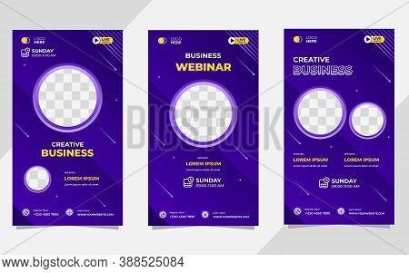 Set Of Minimalist Social Media Story Post Template For Creative Webinar, Business Webinar, Online Ed