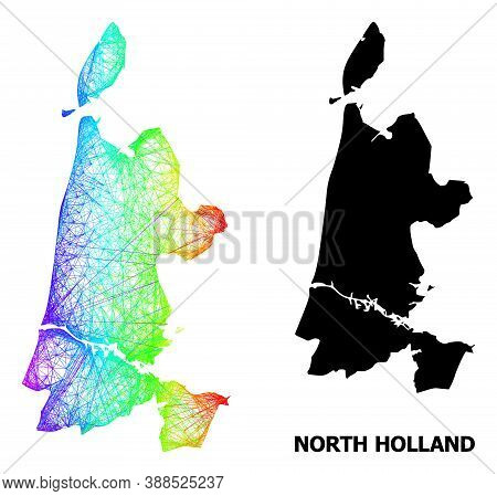 Network And Solid Map Of North Holland. Vector Structure Is Created From Map Of North Holland With I