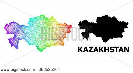 Wire Frame And Solid Map Of Kazakhstan. Vector Model Is Created From Map Of Kazakhstan With Intersec