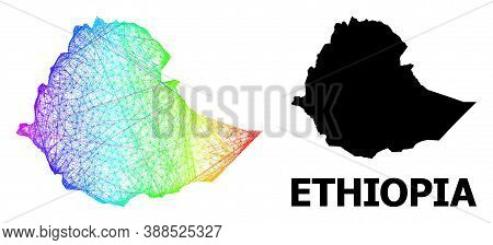 Wire Frame And Solid Map Of Ethiopia. Vector Structure Is Created From Map Of Ethiopia With Intersec