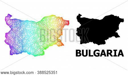 Net And Solid Map Of Bulgaria. Vector Structure Is Created From Map Of Bulgaria With Intersected Ran