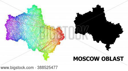 Wire Frame And Solid Map Of Moscow Region. Vector Structure Is Created From Map Of Moscow Region Wit