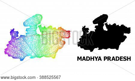 Net And Solid Map Of Madhya Pradesh State. Vector Structure Is Created From Map Of Madhya Pradesh St