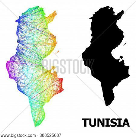 Net And Solid Map Of Tunisia. Vector Model Is Created From Map Of Tunisia With Intersected Random Li