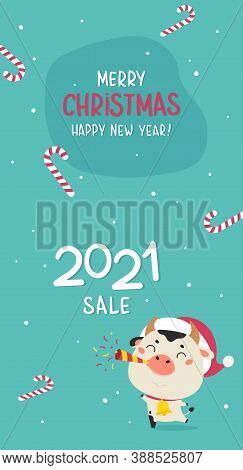 Christmas Sale Vertical Design Template.christmas Advertising.xmas Cute Ox And Holiday Candies On Th