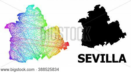 Wire Frame And Solid Map Of Sevilla Province. Vector Structure Is Created From Map Of Sevilla Provin