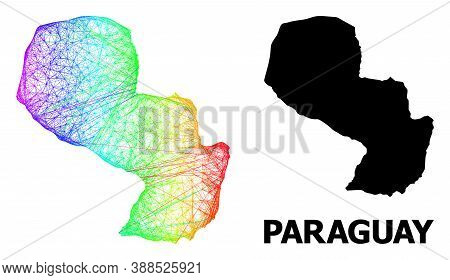 Net And Solid Map Of Paraguay. Vector Structure Is Created From Map Of Paraguay With Intersected Ran