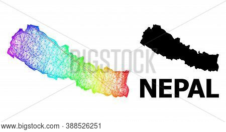 Wire Frame And Solid Map Of Nepal. Vector Model Is Created From Map Of Nepal With Intersected Random