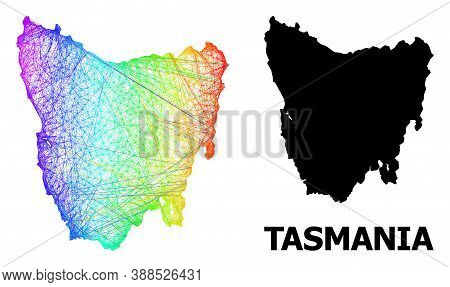 Net And Solid Map Of Tasmania Island. Vector Model Is Created From Map Of Tasmania Island With Inter