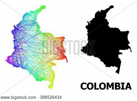 Wire Frame And Solid Map Of Colombia. Vector Structure Is Created From Map Of Colombia With Intersec