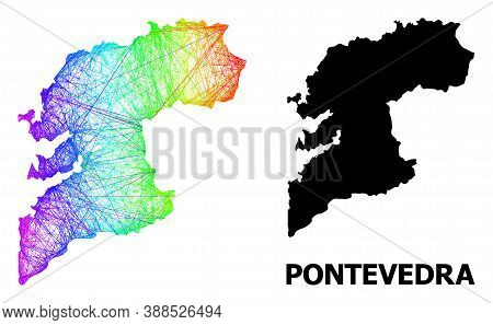 Net And Solid Map Of Pontevedra Province. Vector Structure Is Created From Map Of Pontevedra Provinc