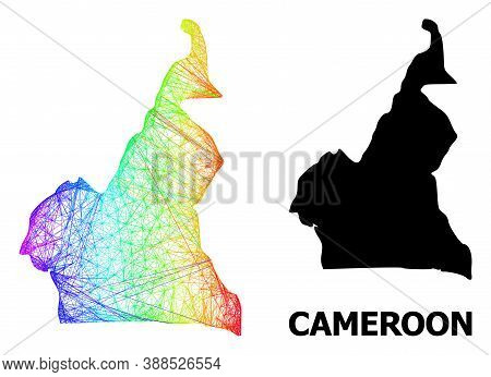 Net And Solid Map Of Cameroon. Vector Model Is Created From Map Of Cameroon With Intersected Random
