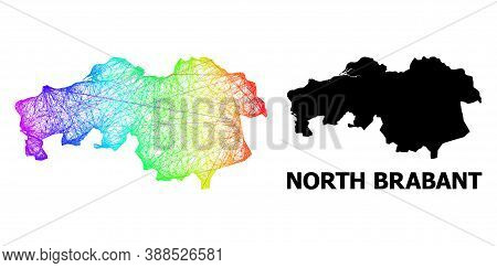 Net And Solid Map Of North Brabant Province. Vector Structure Is Created From Map Of North Brabant P