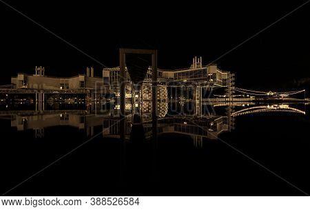 Toronto, Ontario, Canada, Aug.30,2019, Abstract Amazing Monochrome Night View Of An Old Atlantis Bui