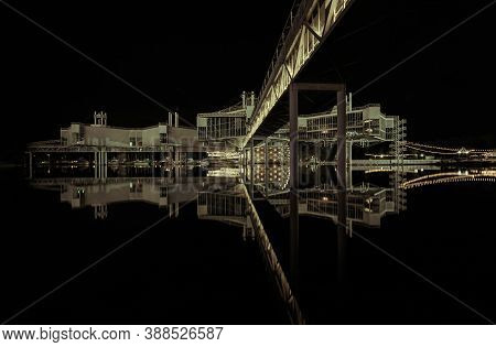 Toronto, Ontario, Canada, Aug.30,2019, Beautiful Amazing Abstract Monochrome Night View Of An Old At