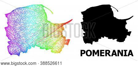 Wire Frame And Solid Map Of Pomerania Province. Vector Structure Is Created From Map Of Pomerania Pr