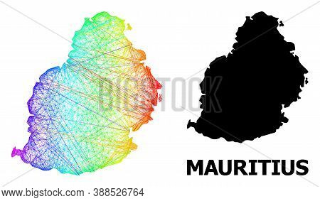 Wire Frame And Solid Map Of Mauritius Island. Vector Structure Is Created From Map Of Mauritius Isla
