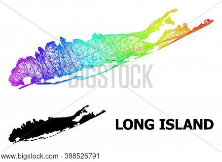 Network And Solid Map Of Long Island. Vector Structure Is Created From Map Of Long Island With Inter