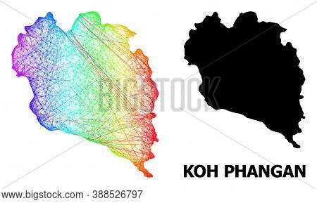 Net And Solid Map Of Koh Phangan. Vector Structure Is Created From Map Of Koh Phangan With Intersect