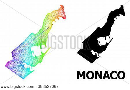 Wire Frame And Solid Map Of Monaco. Vector Structure Is Created From Map Of Monaco With Intersected