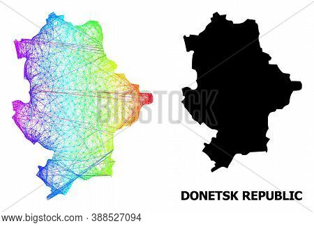 Net And Solid Map Of Donetsk Republic. Vector Structure Is Created From Map Of Donetsk Republic With