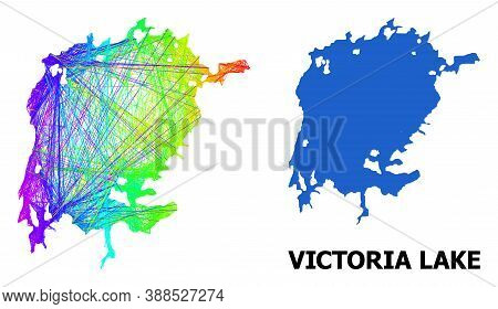 Wire Frame And Solid Map Of Victoria Lake. Vector Structure Is Created From Map Of Victoria Lake Wit