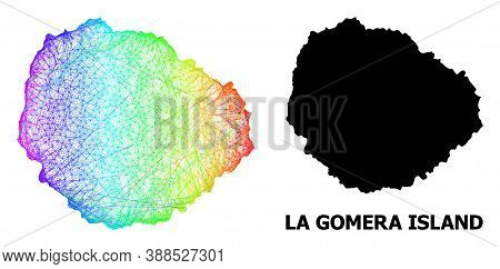 Wire Frame And Solid Map Of La Gomera Island. Vector Structure Is Created From Map Of La Gomera Isla